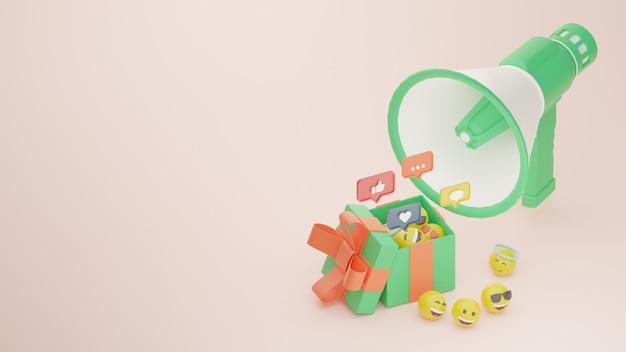 Campanha de promoção de mídia social de sorteio 3d e emoji