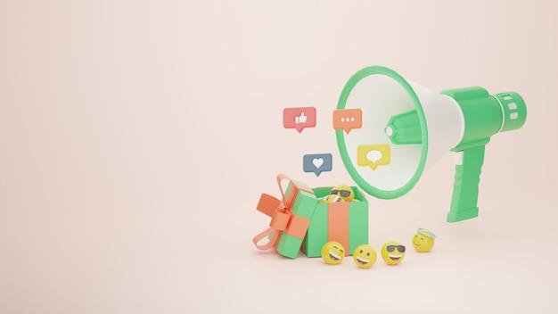 Campanha de promoção de mídia social de sorteio 3d e imagem premium de emoji
