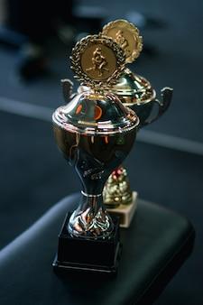 Campeão da copa contra um fundo escuro no ginásio