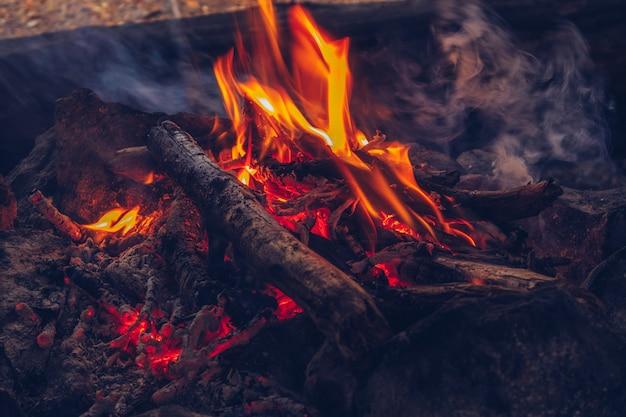 Camping fogo aconchegante closeup vista. estilo de vida da vida selvagem ao ar livre. banco de fotografias de madeira queimando em chamas