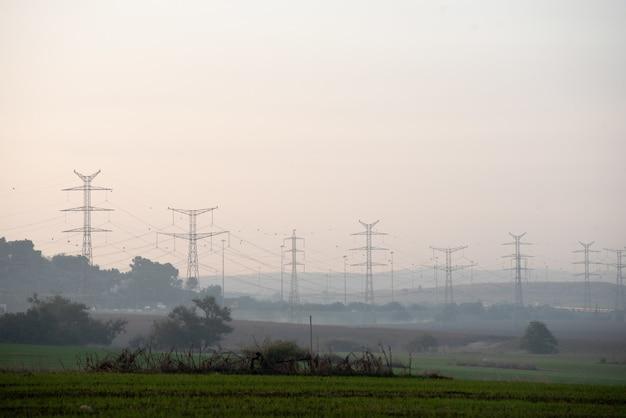 Campo coberto de vegetação com torres de transmissão no fundo desfocado