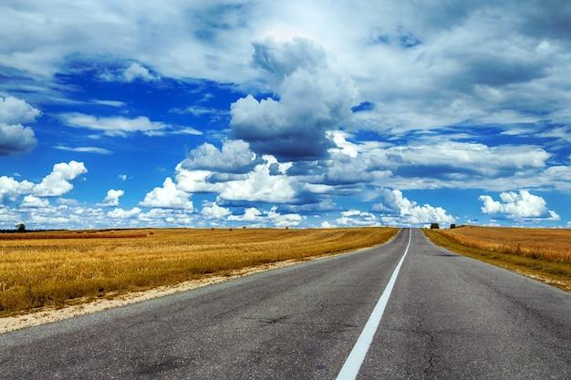 Campo, com, trigo, e, pilhas, estrada, contra, a, céu azul, com, nuvens, ligado, um, dia verão