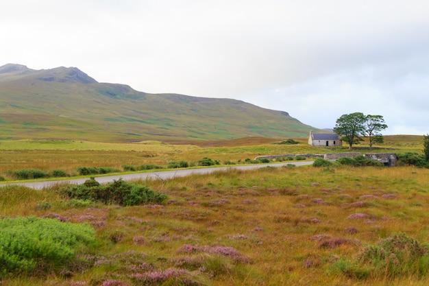 Campo de calha da estrada escocesa. estrada em perspectiva. panorama escocês