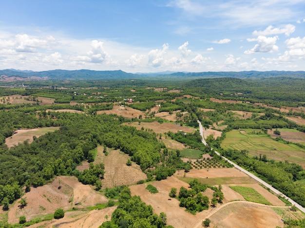 Campo de colheita vazio ao lado da montanha