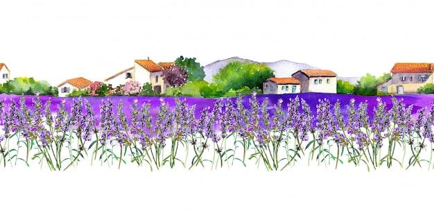 Campo de flores de lavanda com casas de vila rural.