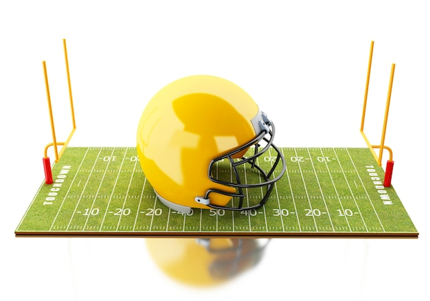 Campo de futebol 3d americano com capacete amarelo.