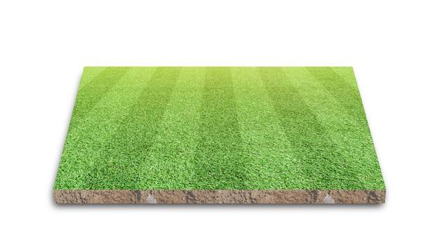 Campo de futebol com faixa de gramado, campo de futebol de grama verde, isolado no branco