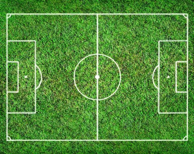 Campo de futebol com grama como pano de fundo
