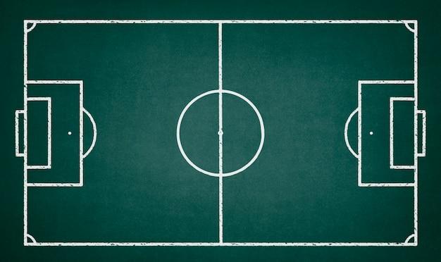 Campo de futebol desenhado em um quadro verde