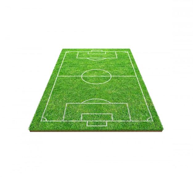 Campo de futebol do futebol isolado no fundo branco.