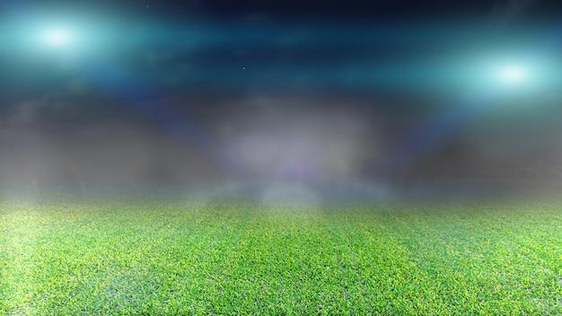 Campo de futebol e luzes brilhantes.