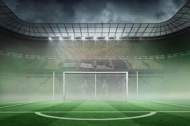 Campo de futebol em grande estádio