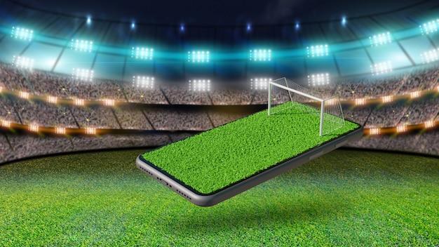 Campo de futebol na tela do smartphone. conceito online de futebol, renderização em 3d