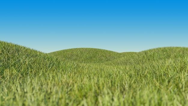 Campo de grama em pequenas colinas e céu azul gradiente.