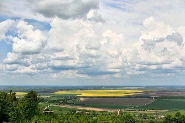 Campo de grama verde em pequenas colinas e céu azul com nuvens