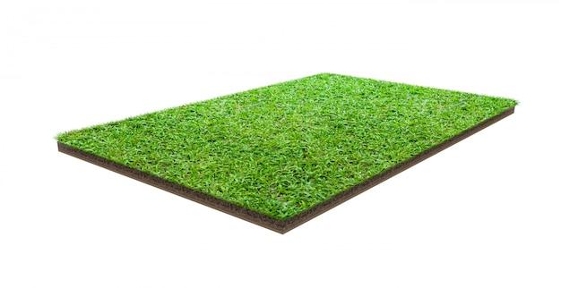 Campo de grama verde isolado no branco com traçado de recorte