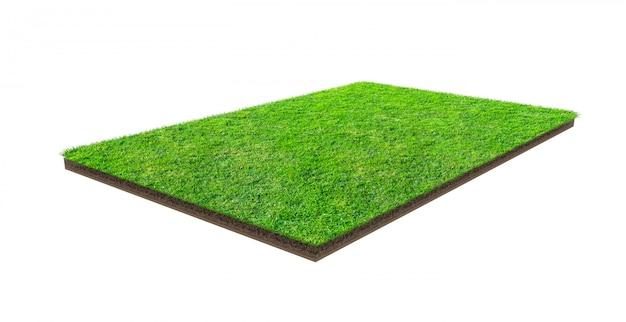 Campo de grama verde isolado no branco com trajeto de grampeamento. campo de esportes. jogos de equipe de verão.