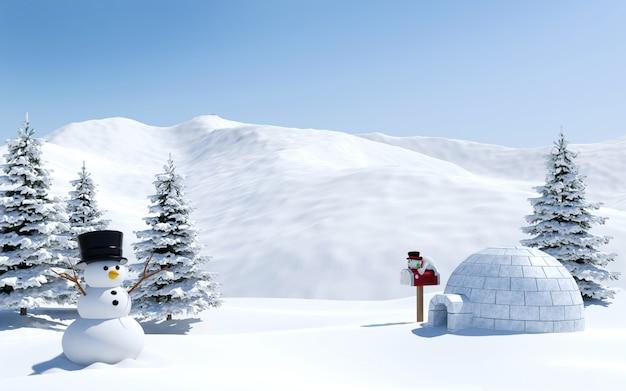 Campo de neve da paisagem do ártico com iglu e boneco de neve no pólo norte do feriado de natal