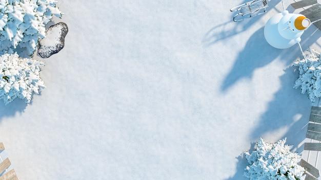 Campo de neve do inverno na vista superior com espaço de cópia no meio, renderização em 3d