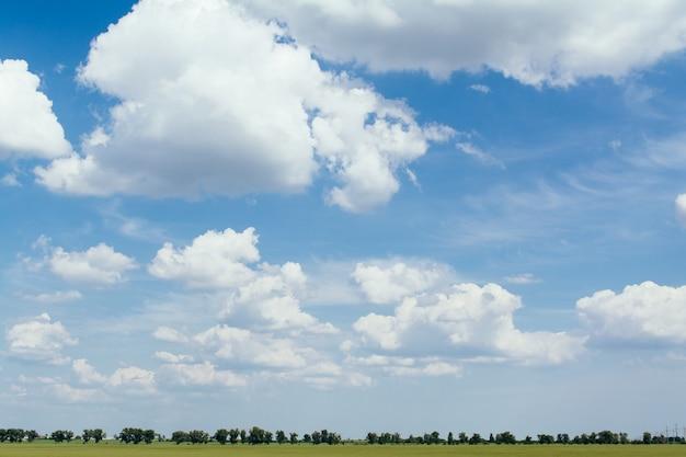 Campo de paisagem de verão e nuvens grandes