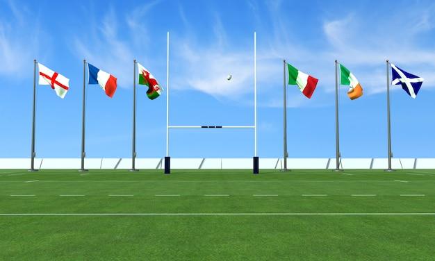 Campo de rugby com as bandeiras das equipes no torneio das seis nações