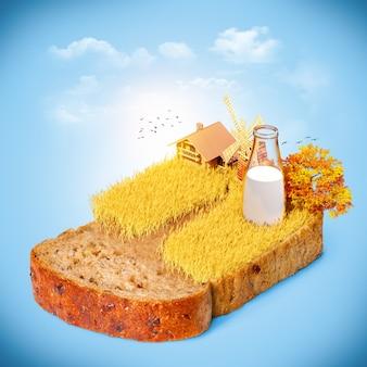 Campo de trigo no pão