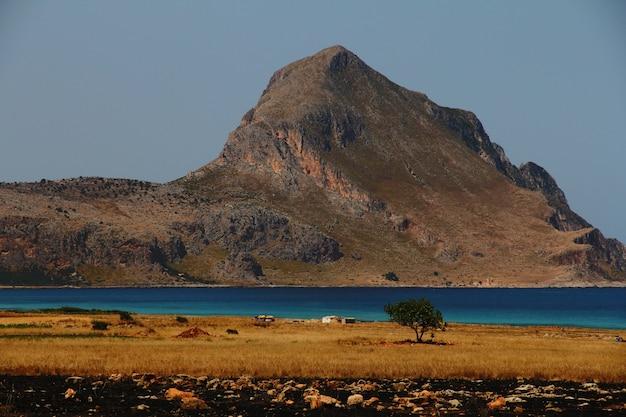 Campo gramado seco com uma árvore perto da água com uma montanha à distância e um céu claro