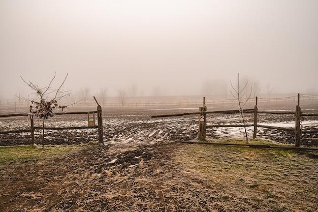 Campo vazio com cercas de madeira e neblina