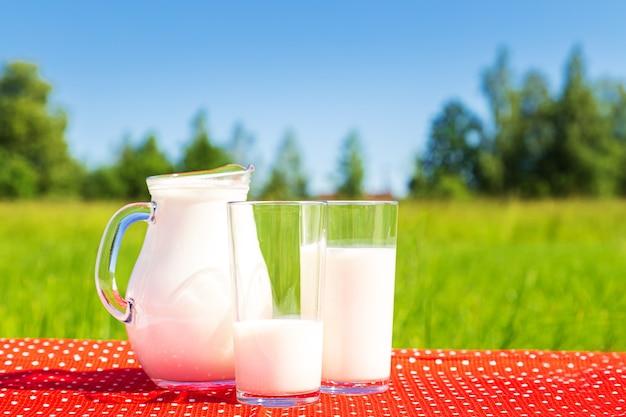 Campo verde e céu azul. dois copos e uma jarra de leite. alimentação saudável.