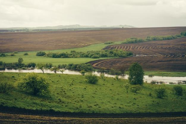 Campos verdes da mola com colheitas plantadas entre as colinas.