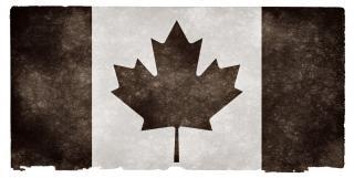Canadá grunge bandeira preta e branca