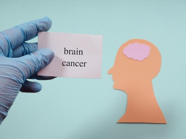 Câncer de cérebro, a silhueta de uma cabeça feita de papel, médico segura um pedaço de papel com o texto