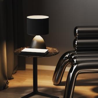 Candeeiro de mesa com um livro na mesa de centro perto de uma elegante poltrona de metal à noite