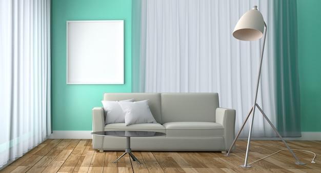 Candeeiro de mesa e quadro verdes do sofá do estilo da hortelã, assoalho de madeira no fundo verde da hortelã.