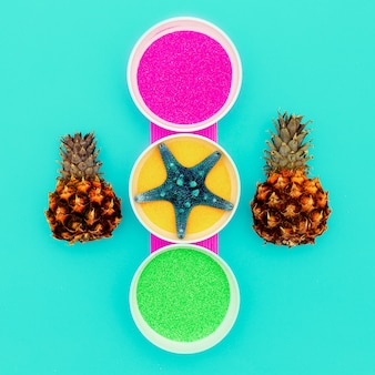 Candy colors art sea salt, starfish, abacaxis mínimo