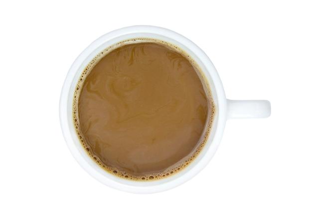 Caneca branca com vista superior isolada do café