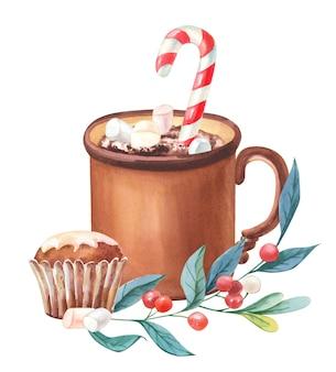 Caneca de cacau em aquarela com doces, maffin, baga vermelha, galho verde. ilustração em aquarela de natal.