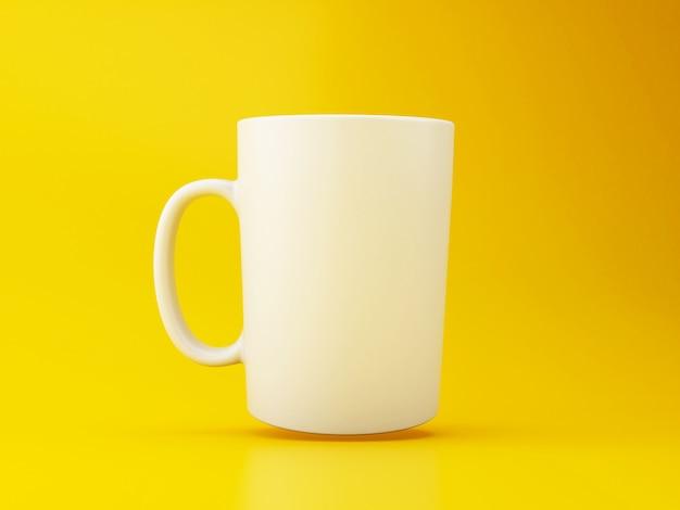 Caneca de café 3d branco no fundo amarelo.