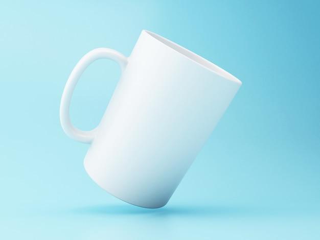 Caneca de café 3d branco no fundo azul.