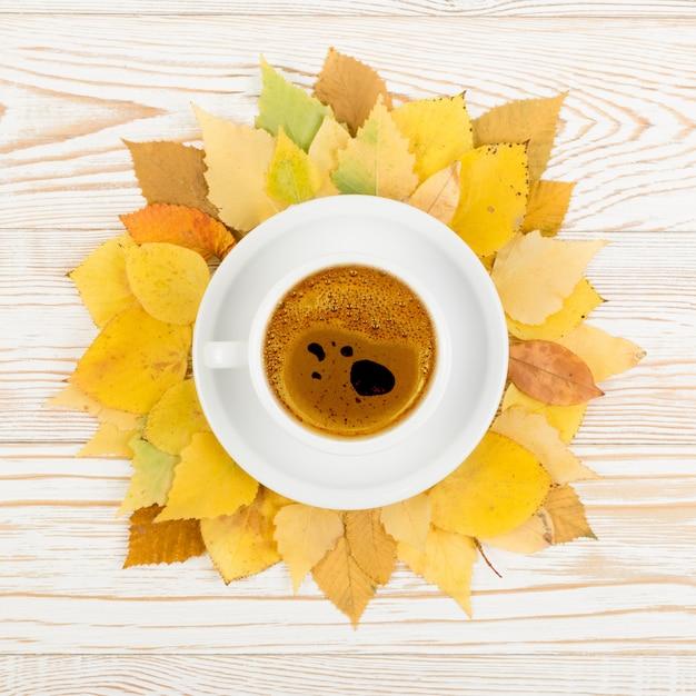 Caneca de café rodeada por folhas de árvore de outono