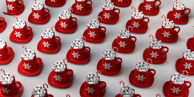 Caneca de chocolate com marshmallows e pirulito. bebida de natal. copie o espaço. ilustração 3d.