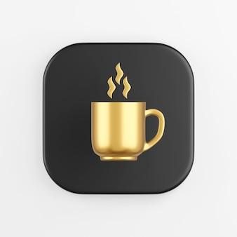 Caneca de ouro do ícone e ondas de vapor, pausa para o café. botão chave quadrado preto de renderização 3d, elemento interface ui ux.