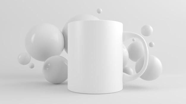 Caneca mock up renderização em 3d