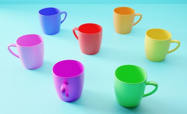 Canecas com variação de cores do arco-íris
