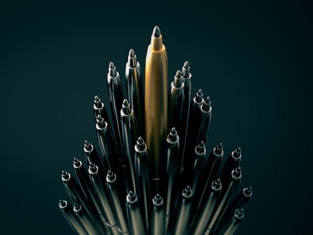Caneta de ouro, destacando-se de canetas de cromo, destacando-se o conceito de multidão. renderização em 3d