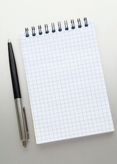 Caneta esferográfica e um caderno aberto