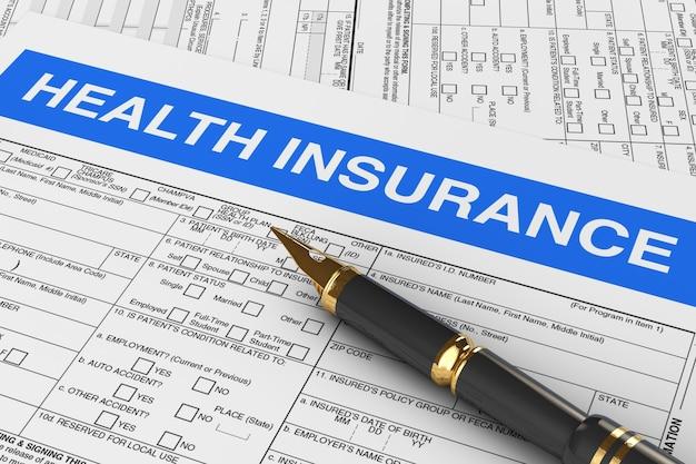 Caneta-tinteiro dourado com closeup extrema de formulário de seguro de saúde. renderização 3d