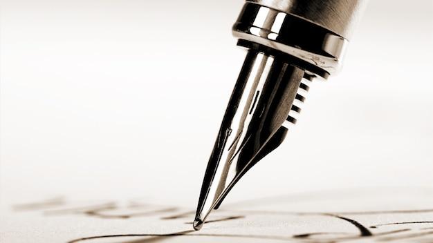 Caneta-tinteiro escrita à mão no fundo