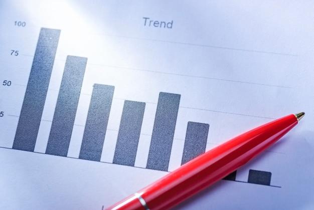 Caneta vermelha, deitado sobre um gráfico de barras, mostrando as tendências