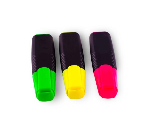 Canetas coloridas isoladas